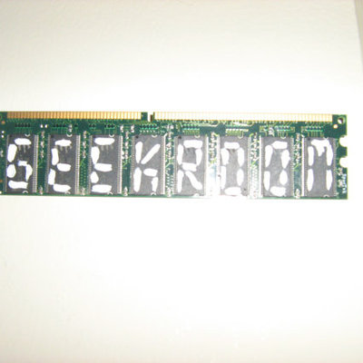 Geek room hanging wall sign - made with repurposed ram