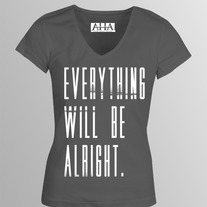 """Everything Will Be Alright."" - Girl's Grey Tri-Blend Fitted V-Neck"