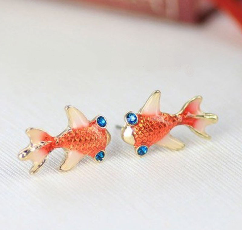 Gold tone orange pink enamel blue rhinestone koi fish for Blue and orange koi fish