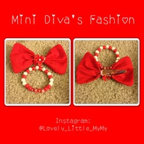Red & White Mini Diva Bow set