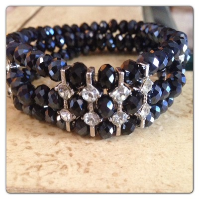 3 row midnight stretch bracelet