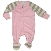 Coccoli Infant Velour Footie Pajamas- PInk