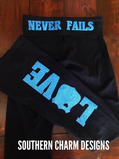 Love Never Fails Leo Yoga Pants Glitter Version
