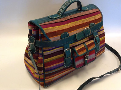 Moroccan Sabra Silk & Green Leather Large Handbag Luggage Suitcase Multicolor Striped
