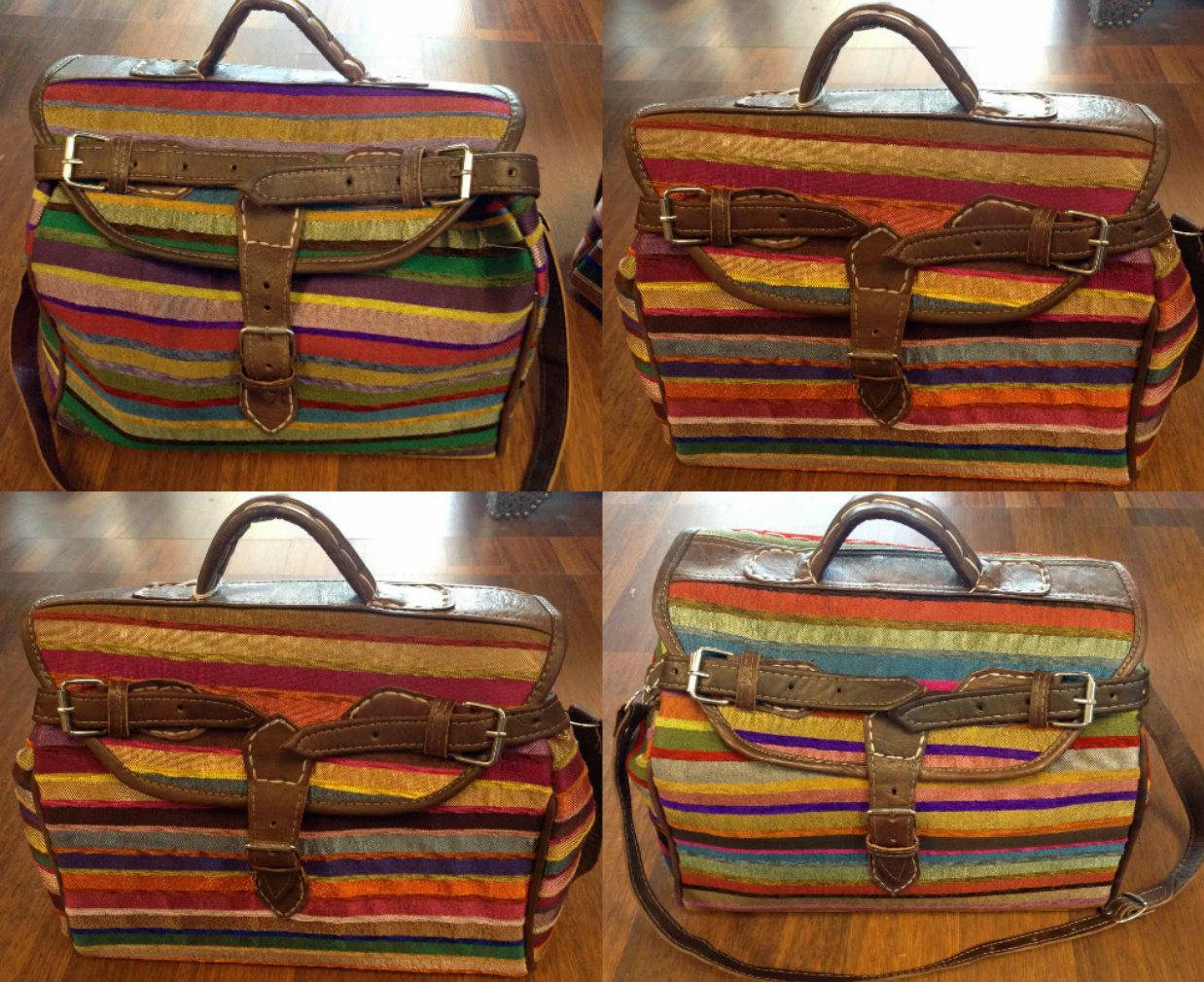 Moroccan sabra silk leather large handbag luggage for Furniture bazaar