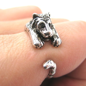 Miniature Tiger Animal Wrap Ring in SHINY Silver - Sizes 4 to 9