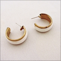 White and Gold Stud Hoop Earrings