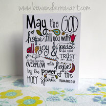 """Romans 15:13"" Encouragement, Faith, Hand-drawn Card"