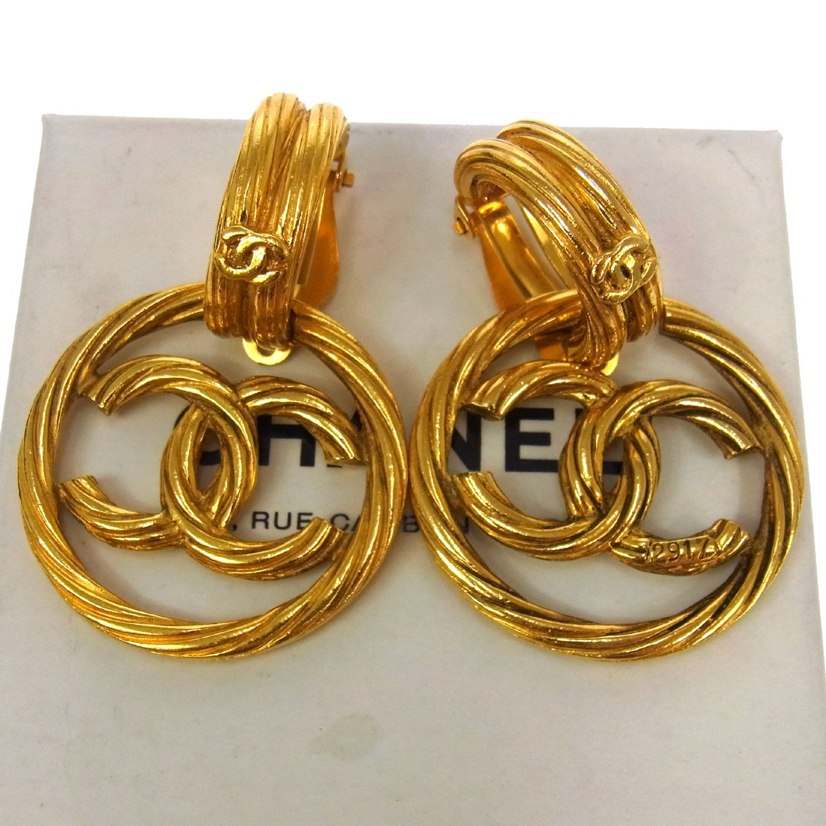 authentic vintage chanel gold cc earrings truc de chic