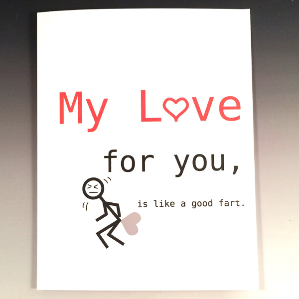 My love for you is like a fart funny anniversary card humorous my love for you is like a fart funny anniversary card humorous card m4hsunfo Gallery