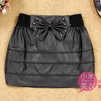 Elastic Waist Pleather Skirt With Studded Bow