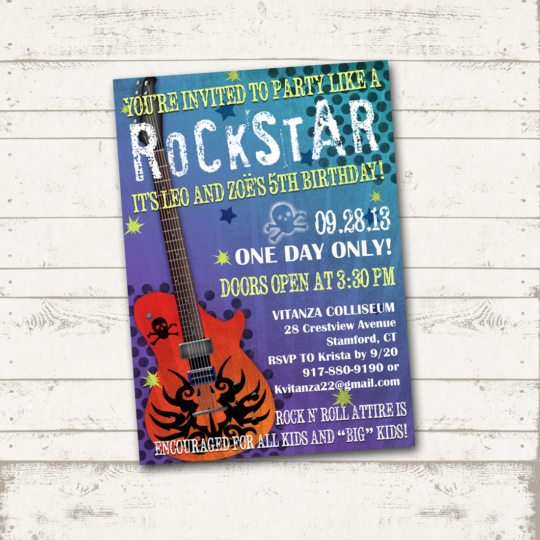 Valerie Pullam Designs | Rockstar Birthday Invitation - Party like a ...