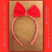 Red & White Bow headband