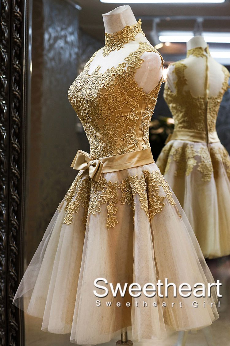 Sweetheart girl amazing champagne lace short prom for Champagne lace short wedding dress