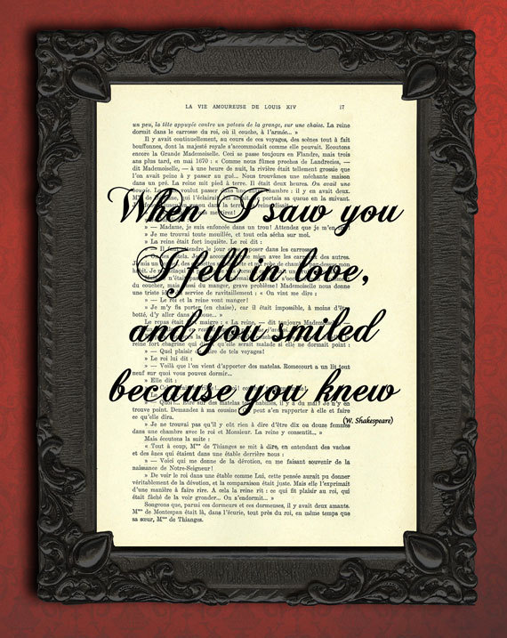 Shakespeare, Love Quote, Vintage Dictionary Print