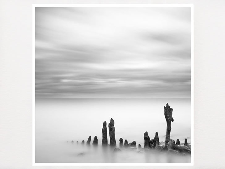 Black and white minimalist ocean photography from ireland a slow tide