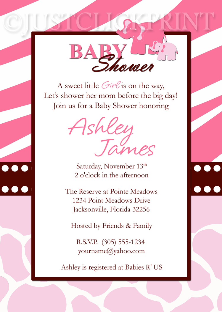 Wild Safari Pink Baby Shower Invitation Printable · Just Click Print ...