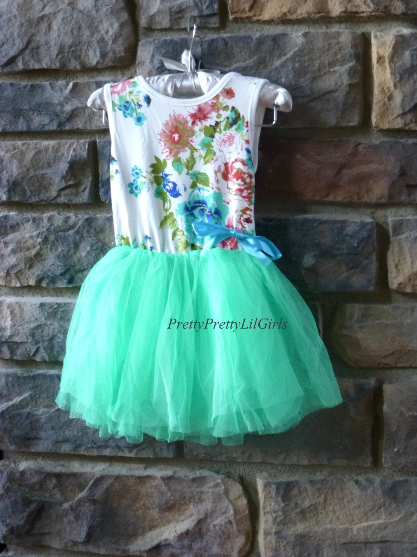Baby Girl Dress, Girls Dress, Little Girls Dress, Mint Dress, Tutu ...