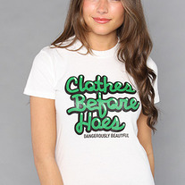 The Clothes Before Hoes Tee in Green/White