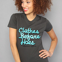 The Clothes Before Hoes Tee in Turqoise/Charcoal