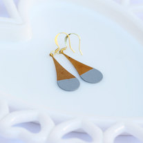 Gray Color Dipped Rounded Brass Dangle Earrings