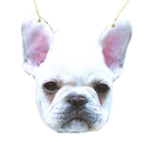 White French Bulldog Frenchie Dog Head Shaped Vinyl Animal