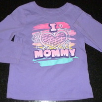 Purple I Love Mommy Long Sleeve Shirt-The Childrens Place Size 4T