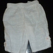 White Capris With Flowers-Little Legends Size 0-3 Months