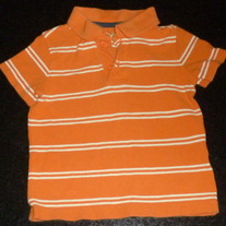 Orange/White Stripe Short Sleeve Shirt-Jumping Beans Size 2T