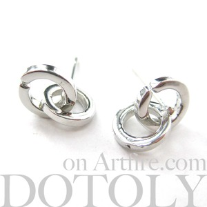Simple Small Connected Linked Tiny Hoop Knot Stud Earrings in Silver