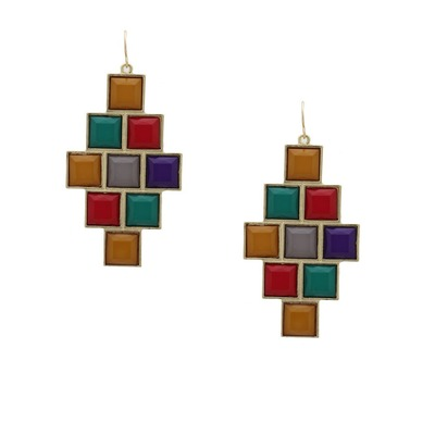 Architectural geo jewel earrings -  multicolored