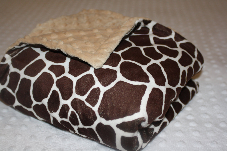 small minky baby blanket wild giraffe print and beige minky dot