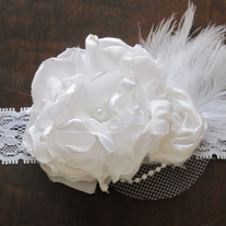 White Satin Bloom headband