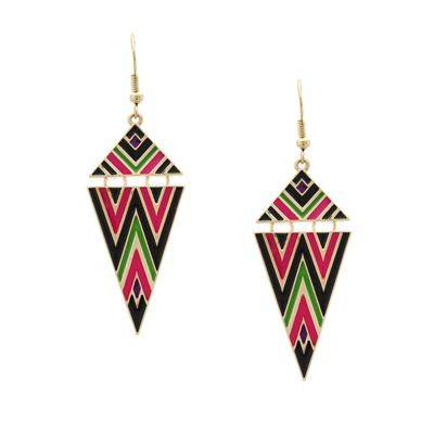 Delicate aztec earrings - purple and green