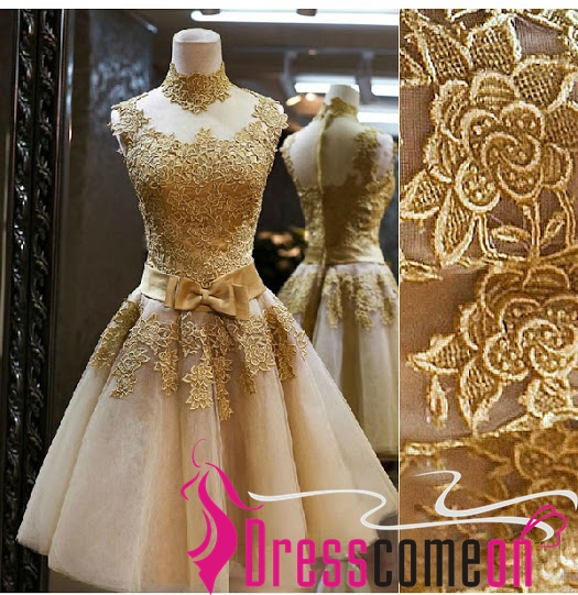 Beautiful Custom Ball Gown High Neck Tulle knee Length Gold Prom ...