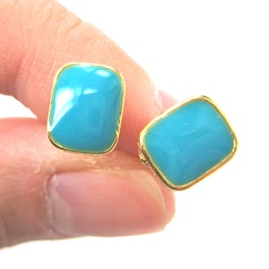 Small Rectangular Turquoise Blue on Gold Stud Earrings