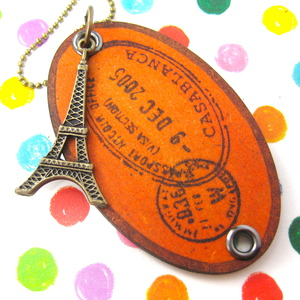 Ink on Wood Eiffel Tower France Travel Souvenir Tag Necklace in Orange