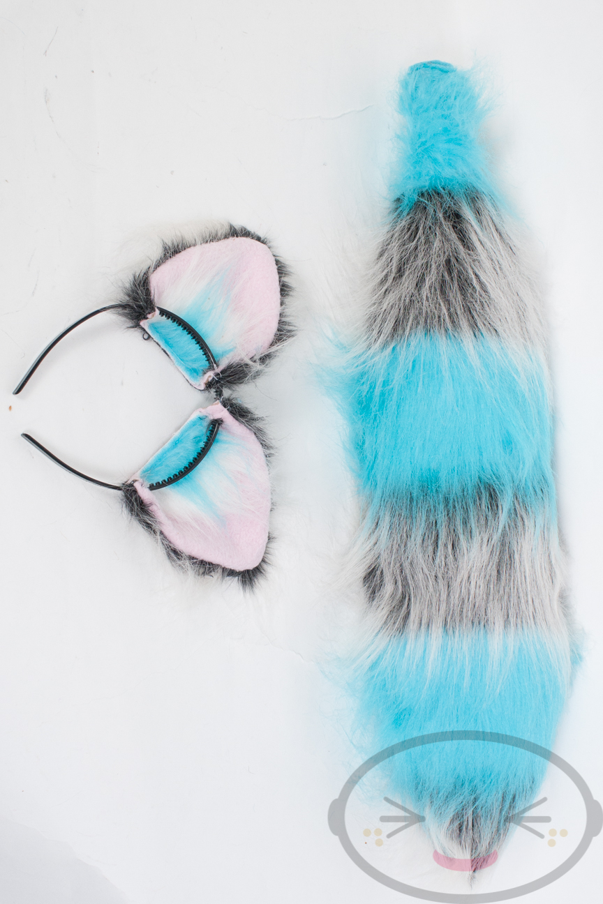 Fluffy Movie Cheshire Cat Ear And Tail Set Cosplay Accessories