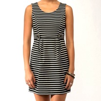 M black white stripe sheath mini dress pin-up retro sleeveless jumper
