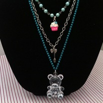 Blue Pink Cupcake Teddy Bear Pendant Blue Pearl Chain Layered Necklace