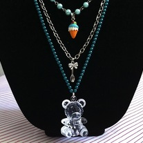 Teddy Bear Blue Pearl Chain Layered Ice Cream Cone Necklace