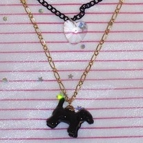 Gold Black Beaded Chain Enamel Scotty Dog Pendant Heart Charm Layered Lolita Necklace