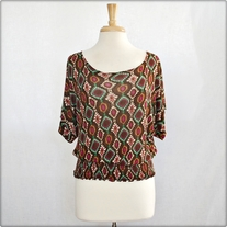 Wide Neck Patterned Shirt