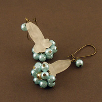 Rose Quartz and Glass Pearl Brass Earrings