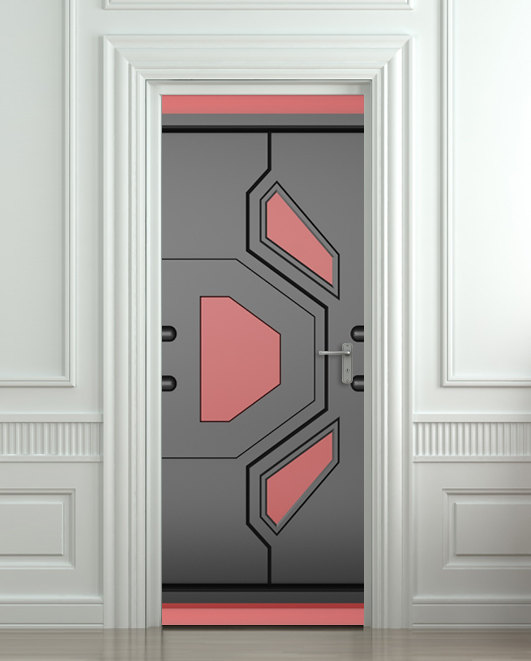 Door sticker futuristic gate hi tech star mural decole for Door mural decals