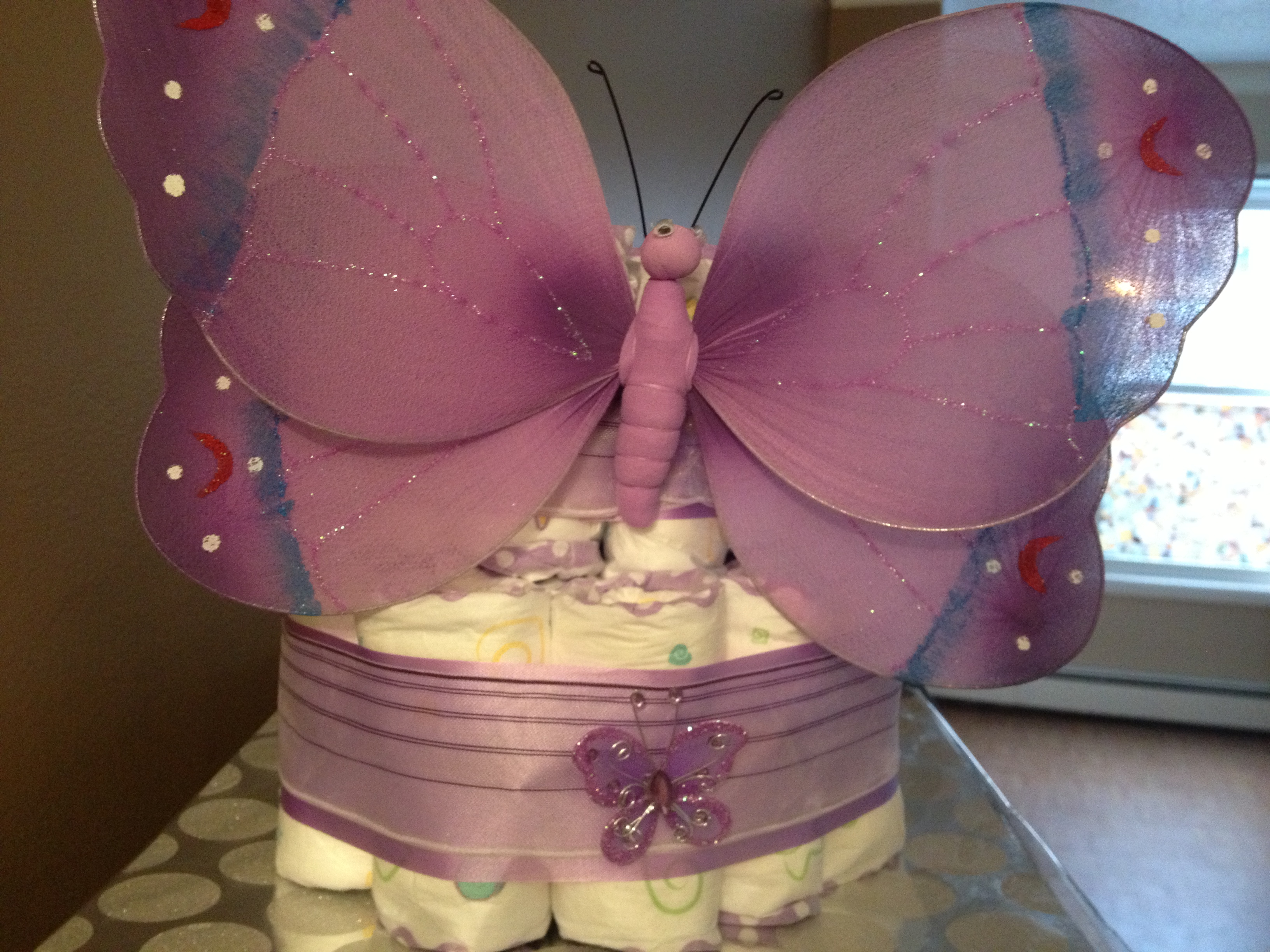 purple butterfly baby shower cakes