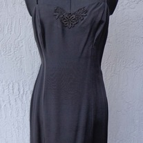 Black Wiggle Dress with embroidered flower neckline, Size 11
