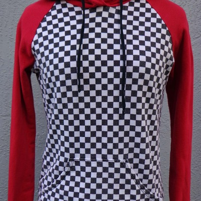 Checker print hoodie, size small