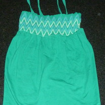 Green Spaghetti Strap Top with Blue/Green Stitching-Gap Kids Size 10