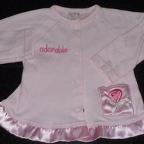 Pink Long Sleeve Shirt with Silk Ruffle says Adorable-Little Lindsey Size 6-9 Months